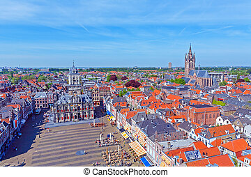 Aerial View of Old City, Delft, Holland - View from Nieuwe...