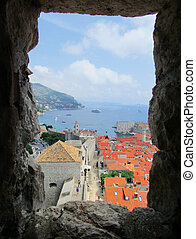 Aerial view of old city Dubrovnik in a summer day, Croatia