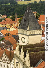Aerial view of Old City Hall in Tabor, Czech Republic
