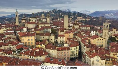Aerial view of old fortified Upper City of Bergamo, Italy -...