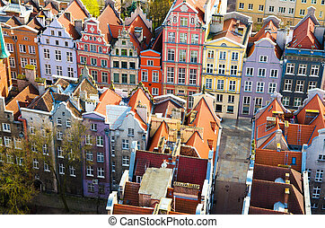 Aerial view of old historical town centre, Gdansk, Poland