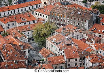 Aerial view of old medieval town Kotor