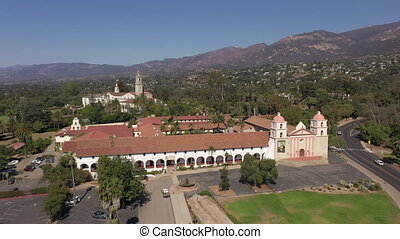 Aerial view of Old Mission in Santa Barbara, daytime. High quality 4k footage