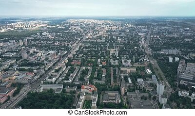 Aerial view of Old Mokotow city district in Warsaw, Poland -...
