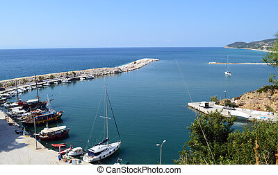 Aerial view of old port in Limenaria, Thassos island, Greece