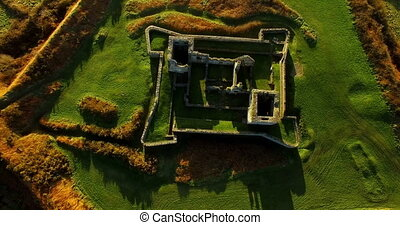 Aerial view of old ruin structure 4k - Aerial view of old...