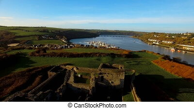 Aerial view of old ruin structure 4k - Aerial view of old ...