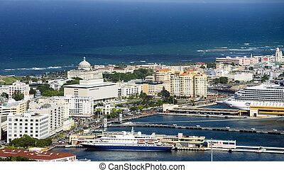 Aerial view of Old San Juan Puerto Rico - Aerial view of Old...