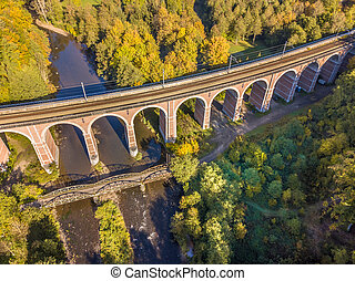Aerial view of Old Stone railroad bridge