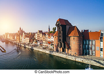Aerial view of Old Town and crane in Gdansk, Poland.