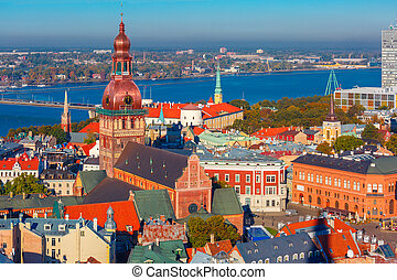 Aerial view of Old Town and Daugava, Riga, Latvia - Aerial...