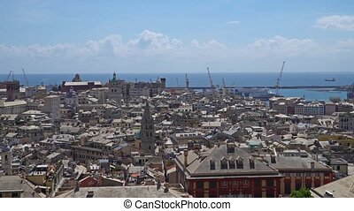 Aerial View of Old Town Genoa. Genova Skyline, Italy.