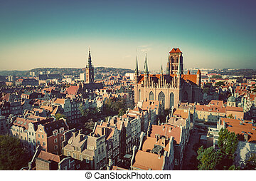 Aerial view of Old Town in Gdansk, Poland