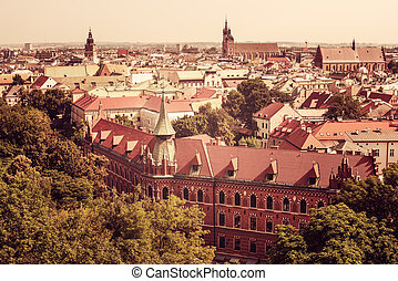 Aerial view of Old Town in Krakow, Poland