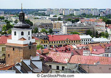 Aerial view of old town in Lublin