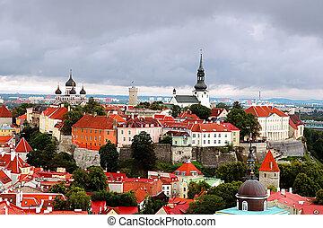 Aerial view of old town in Tallinn, Estonia