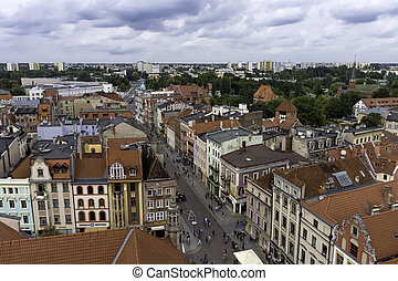 Aerial view of Old Town in Torun, Poland