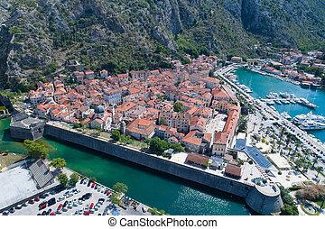 Aerial view of old town Kotor, Montenegro