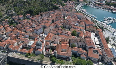 Aerial view of old town Kotor, Montenegro - Aerial view of...