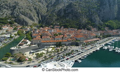 Aerial view of old town Kotor, Montenegro, hyperlapse