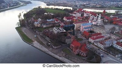 aerial view of old town of city at evenenig - aerial view of...