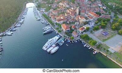 Aerial view of old town of Skradin at estuary of the Krka river