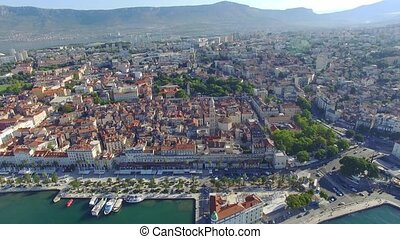 Aerial view of old town Split city center with Diocletian palace