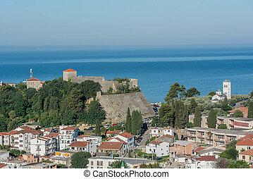 Aerial view of old town Ulcinj, Montenegro