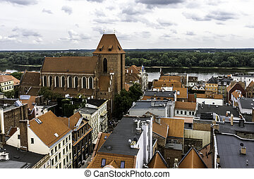 Aerial view of Old Town with Cathedral in Torun, Poland