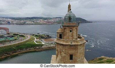 Aerial view of oldest Roman lighthouse in use today, La ...
