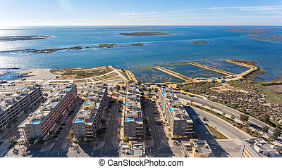 Aerial view of Olhao, Algarve, Portugal. - Aerial view of ...