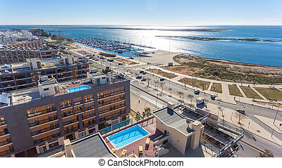 Aerial view of Olhao, Algarve, Portugal. Ria Formosa - ...