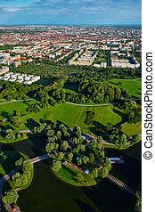 Aerial view of Olympiapark . Munich, Bavaria, Germany -...
