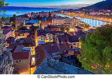 Aerial view of Omis at sunset.
