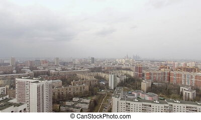 Aerial view of one of the districts of Moscow. Moscow state...