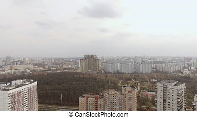 Aerial view of one of the districts of Moscow, cloudy and...