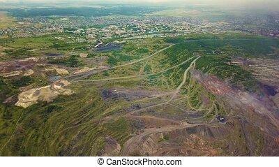 Aerial view of open cut Super Pit gold mine in Kalgoorlie,...