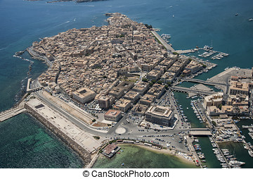 aerial view of Ortigia island