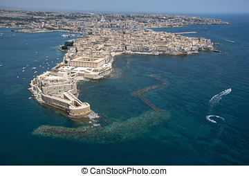 aerial view of Ortigia island in Siracusa, Sicily, Italy