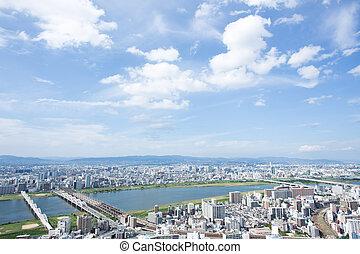 Aerial view of Osaka Japan