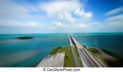 Aerial view of Overseas Highway, Florida on a sunny day
