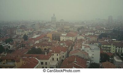 Aerial view of Padua cityscape in fog, Italy - Aerial view...