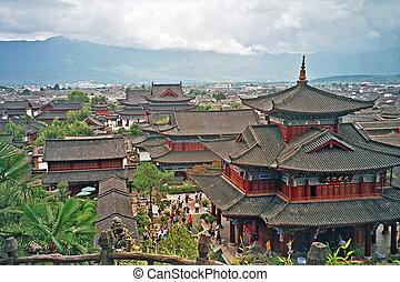 aerial view of palace in lijiang, china