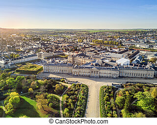 Aerial view of Palace of Compiegne and town, Hauts-de-France, France