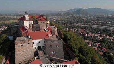 Aerial view of Palanok castle in Mukachevo.