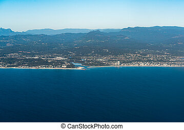 Aerial view of Palm beach with Springbrook National Park in...