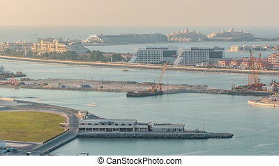 Aerial view of Palm Jumeirah Island timelapse.