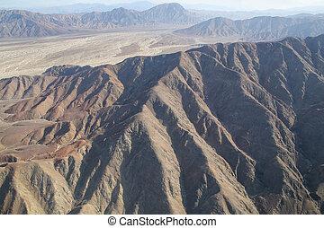 Aerial view of Pampas de Jumana near Nazca in Peru.