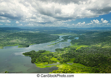 Aerial view of Panama Canal