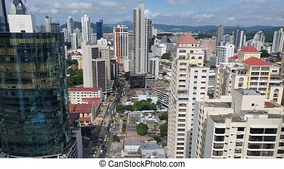 Aerial View of Panama City in the summer in the country of...
